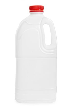 Transparent plastic gallon, jerry can isolated on a white background