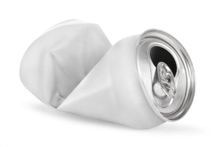 Crumpled empty soda or beer can isolated on white Reklamní fotografie