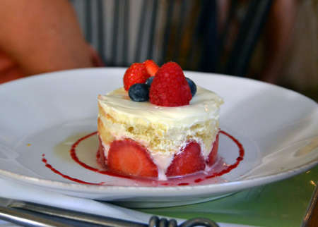 The photo od the dessert with fruits