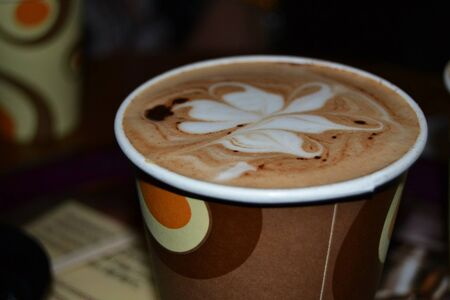 The close up photo of the coffe cup