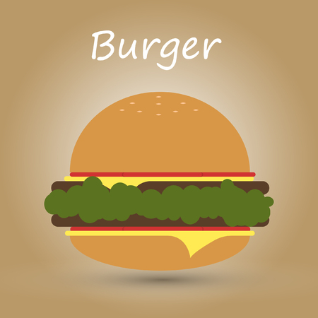 Vector delicious burger illustration wih shadow Reklamní fotografie