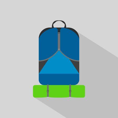 backpack hiking camping flat icon Ilustrace