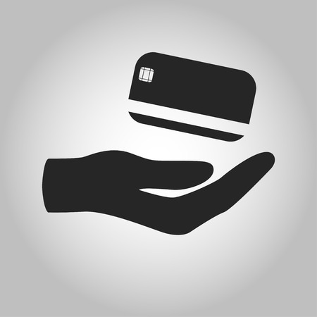 icon hand holding credit card isolated