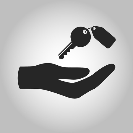 icon hand holding key isolated Vettoriali