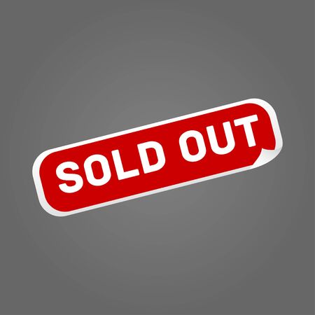 sold out red sticker on grey background vector Ilustrace