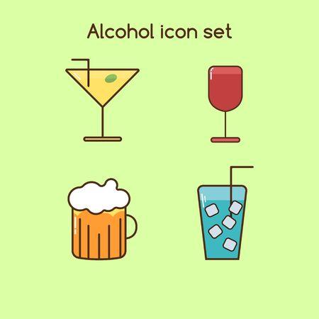 alcohol drinks icon set colorful vintage set