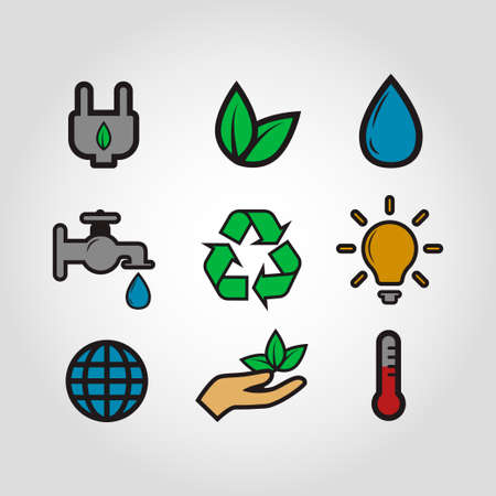 ecology vector icon set vintage style colorful color