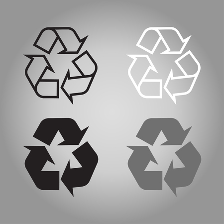 recycling icon different color set ecology grey background