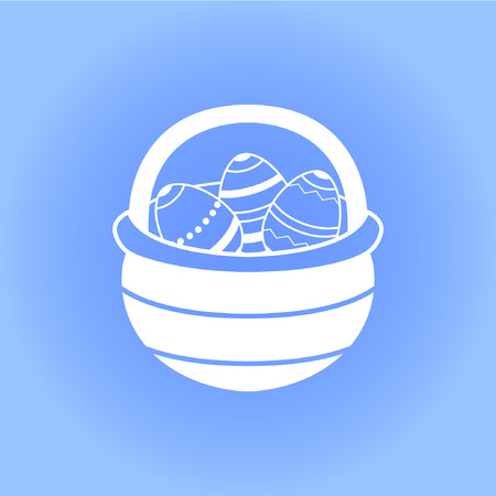 easter basket with eggs icon on blue background