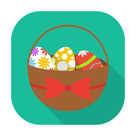 flat icon isolated easter basket with eggs long shadow Ilustrace