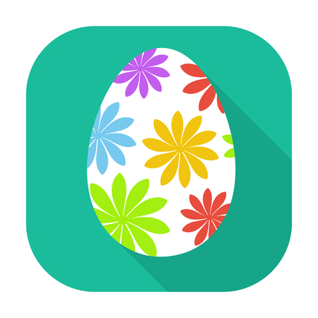 flat icon isolated easter egg with long shadow