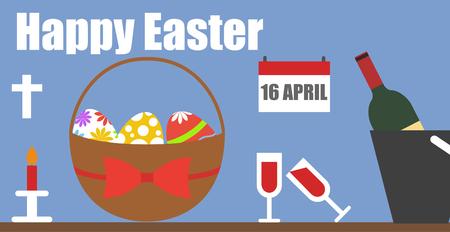 happy easter flat set eggs basket wine cross background