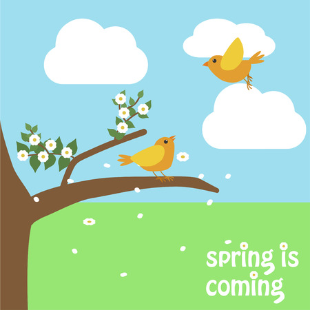 Spring nature birds flat design with spring is coming text background Ilustrace