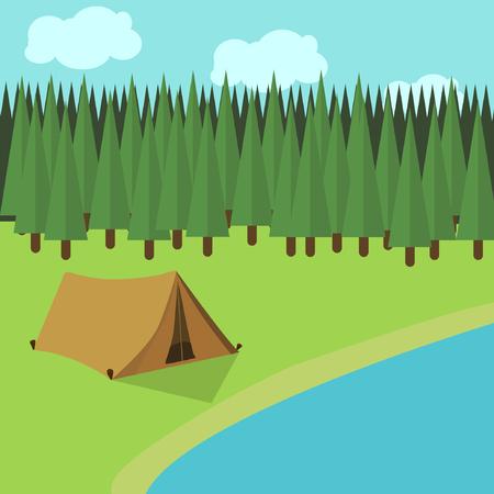 camping spring summer tent forest lake flat design Ilustrace