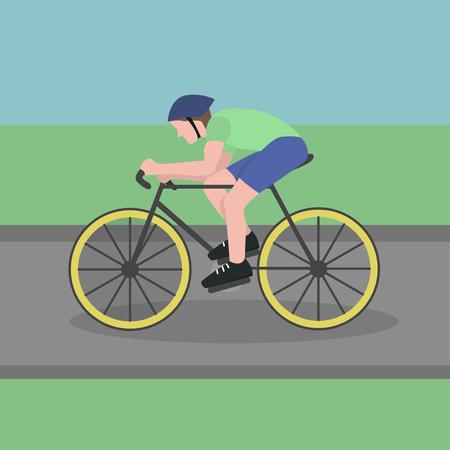 Man riding a bicycle flat design sport