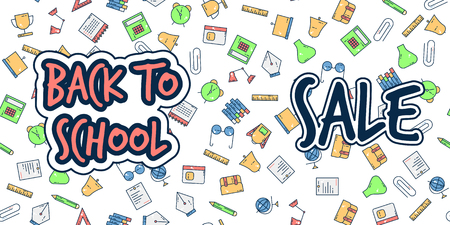 Back to school banner sale background pattern colorful