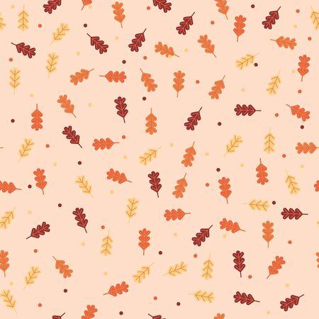 vintage autumn fall leaves pattern background vector illustration