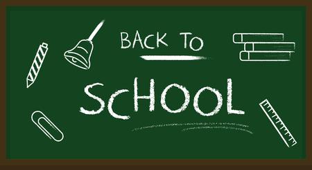 Blackboard banner back to school chalk text vector illustration