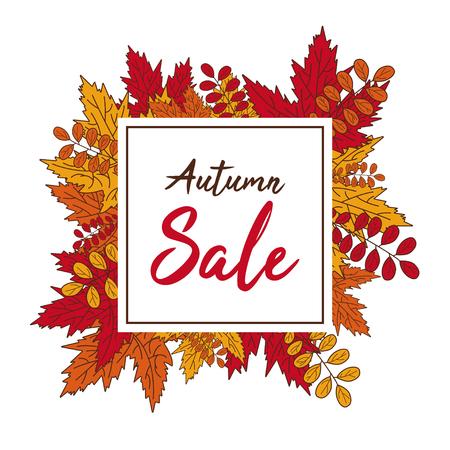 autumn sale banner fall leaves vector illustration handrawn