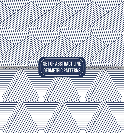 set of 2 geometric line pattern background vector Ilustrace