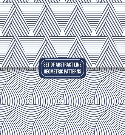 set of 2 geometric line pattern background vector Illustration