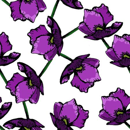 purple floral hand drawn pattern background vector illustration Ilustrace