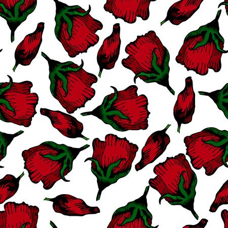red floral hand drawn pattern background illustration Ilustrace