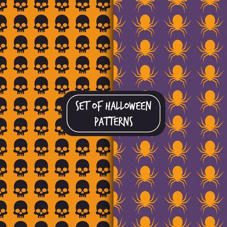 set of halloween pattern backgrounds skull spider vector