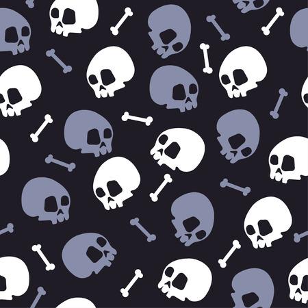 skull bones halloween pattern background vector illustration Ilustrace