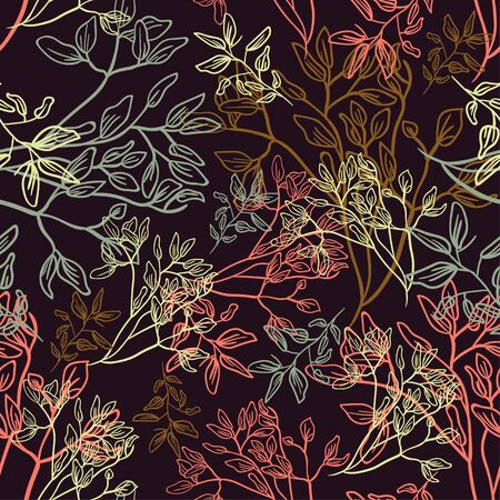 floral sketch line flower leaves pattern background leaf