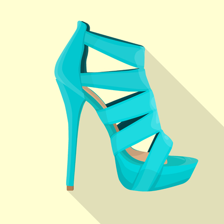 high heels sandals woman flat isolated vector blue