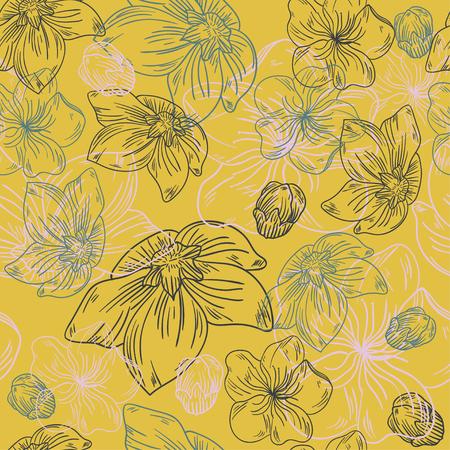 floral line flower pattern fabric sketch background