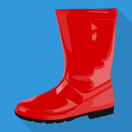 rubber boots woman shoes isolated flat icon red