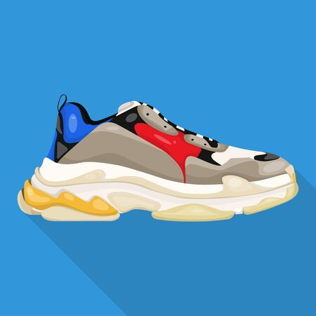 big sneakers modern woman shoes flat icon isolated Ilustrace