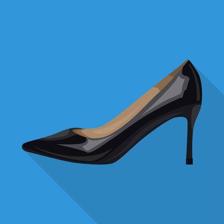 stiletto black woman shoes elegant flat isolated black Ilustrace