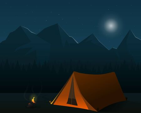 camping forest night illsutration landscape fire