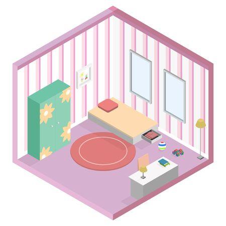 girl kid room isometric geometric