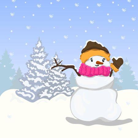 snowman vector illustration winter christmas tree