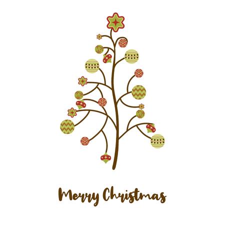 abstract christmas tree balls postcard background Ilustrace