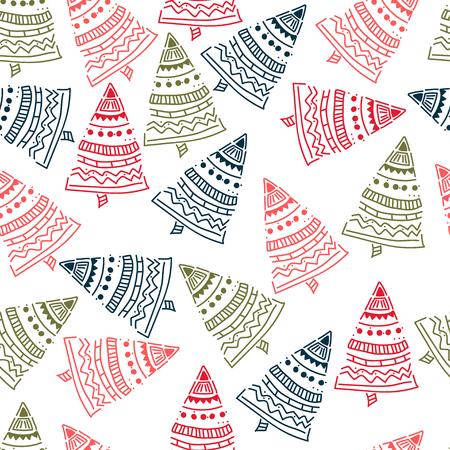 christmas tree hand drawn pattern background