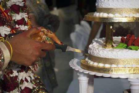Closeup image of Indian wedding - hands of bride and groom cutting the cake
