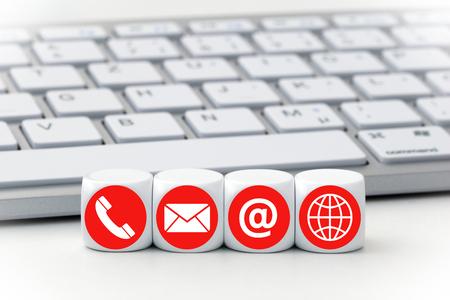 Letter dobbelstenen voor een toetsenbord - Contact opnemen