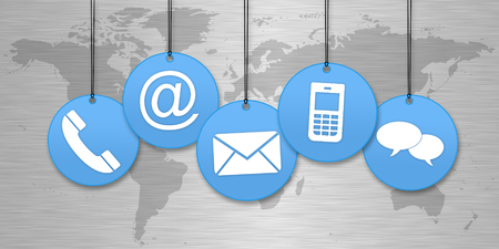 Hanging contact us icons in the front of a world map Standard-Bild - 97071973