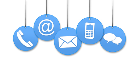 Hanging contact us icons isolated on white background