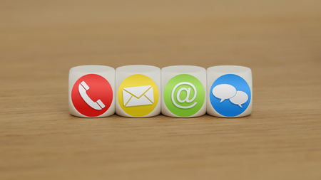 Website and Internet contact us icons on cubes Standard-Bild