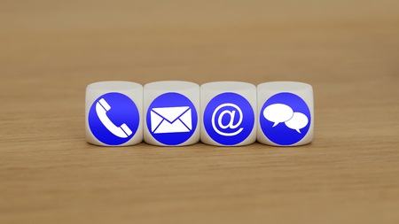 Website and Internet contact us icons on cubes Standard-Bild - 106308843