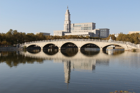 The spring with Harbin University s and lake and Bridge beautiful The Normal view