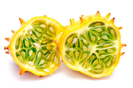 hedged: horned melon isolated on white ground