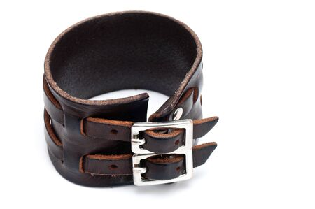 wristband: leather wristband isolated on a white background  Stock Photo