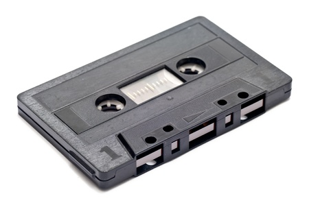 tape cassette: an old music tape over a white background Stock Photo